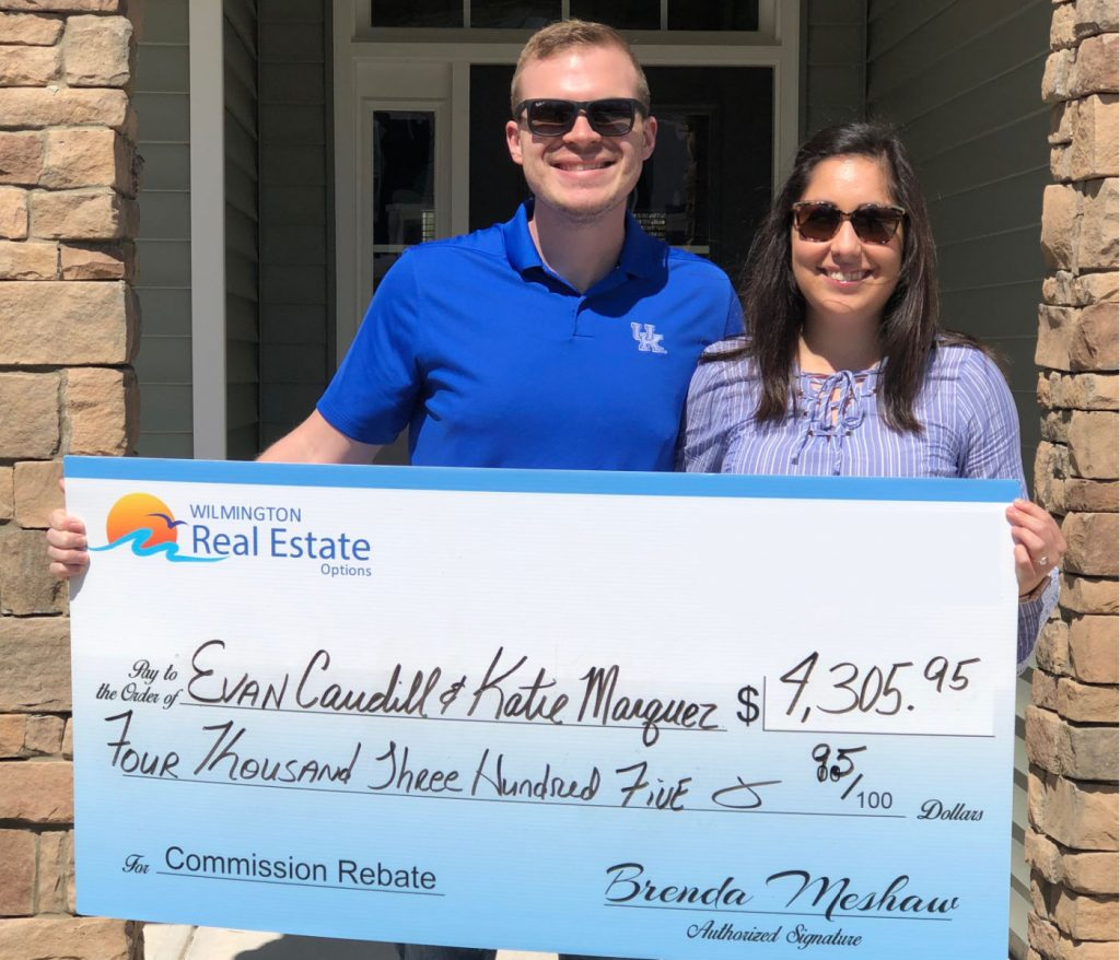 Home Buyer Rebate in Wilmington, NC for Evan Caudill and Katie Marquez